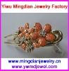 latest fashion flower design alloy enamel shell pieces clear rhinestone 10*4 cm plastic large hair claws AY845-1