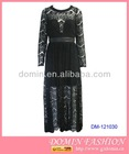 The Newest Scallop Lace Maxi Dress;Lace Long Dress with Leather Waistband