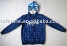 Men's all over print jacket with zipper up to top of hood