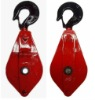 Single wheel snatch block with hook, wire rope sling
