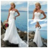 V-neckline Mermaid Style Ivory Satin Backless Cheap Wedding Gown With Back Bow