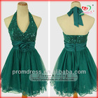 high quality real sample halter sequin short green cocktail dress RD-78