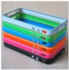 Bumper Frame Cover Case TPU Skin Case for iphone 4 4S with Metal Button Multi-Color