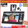 "7"" TFT-LCD touch key wired video door phone,supporting 4CH video in,1CH video out.night vision.control 2 electric lock"
