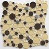 Round glass mosaic mixed with stainless steel mosaic tile