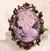 Charming Vintage Purple Victorain rhinestone Cameo Brooch