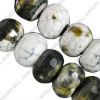 Leopard agate beads, roundel, 14x10mm, sold per 15-inch strand