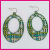 Green Painted Earrings, Cheap Colorful Artificial Earrings