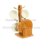 Cup set with bamboo holder &coaster