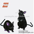 Halloween Set of 2 Black Flocked & Glittered Rats NWT mouse rodent