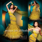 ET-136 One-Shoulder Mermaid Tiered Yellow Vogue Evening Dress patterns With Beading