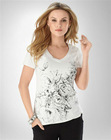 knitted soft organic cotton jersey screen printed stretch v-neck rib loose fit tee