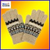 100%acrylic magic five fingers jacquard gloves#STG1202