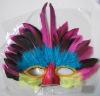 face mask with colorful feathers