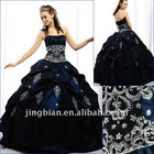 Traditional strapless ball gown in Taffeta with embroidered and beaded quinceanera dresses SH-681