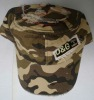 Camo washed military flat cap with embroidery logo