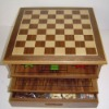wooden 15 in 1 chess game box with a drawer 3077
