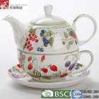 Wholesale pretty ceramic tea cup pot in one set