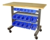 Mobile Work Table with Storage Bins
