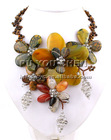 Vintage Agate Chunk & Tiger Eye Beads & Shinny Crystal Necklace set 18""