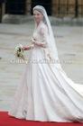 JY-131 Long sleeve Lace muslim wedding dress with veil 2013