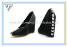 (GGX-0013)OME 2013 Fashion and comfortable black hourse-hair wedge heel shoes for women