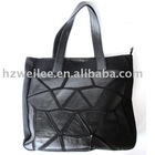 Black cotton canvas handbag with PU patches