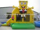inflatable bouncer with roof/PVC air spongebob bounce toy/new jump toy/rental trampoline