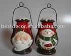 ceramic Christmas lantern with metal handle
