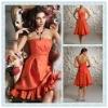BD06 Fashion taffeta Strapless Sleeveless Knee-length Bridesmaid dress