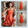BD06 Fashion taffeta Strapless Sleeveless Knee-length Bridesmaid dress