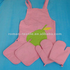 Roman Pur Color Oven Mitt&Pot Holder&Aprons Wholesale Sets