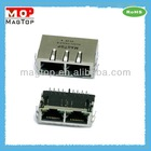 10/100Base-TX Multi Port (1x2) Tab-Down RJ45 Connector W/Transformer W/LED