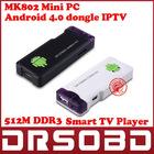 Android 4.0 Mini PC IPTV Google Internet TV Smart Android Box DDR3 512MB RAM 4GB ROM Allwinner A10 MK802