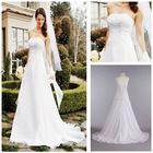 MWD0027 Fashion Forward OEM Lonng White Chiffon A-line Gown With Side Draped Bodice Wedding Dress 2013