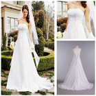 MWD0027 Fashion Forward OEM Lonng White Chiffon A-line Gown With Side Draped Bodice Wedding Dress 2013