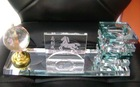 Globle Crystal Name Card Holder with Pen Holders Crystal Pen Holder with Name Card Holder