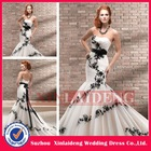 SUA349 2013 hot selling sash lace mermaid black and white wedding dresses