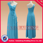 EVD227 real gorgeous flower decorated acid blue chiffon single strap evening gown