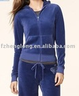 Ladies velour sportswear suit/ladies winter and summer velour tracksuit