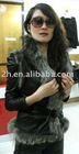 sheep leather vest with fox fur Y007