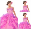Pink Organza Tiered Ruched Floor Length Flower Girls Dress