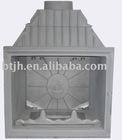 Grey cast iron fireplace stove