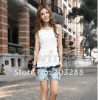 New Women Sexy Wild Style Ribbed Vest White Lace Slim Small Camisoles Fashion