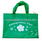420D green nylon shopping bag beach bag tote bag for teenager to hold books
