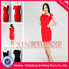 WGD002 sexy clingy short red bateau evening dress for wedding guest