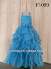 halter beaded floor length navy blue flower girl dresses