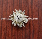 hi fashion clothing accessories real gold plating metal snow flake rhinestone button BS-542