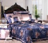 Single Double King Super King silk jacquard dark blue seamless silk bed linen