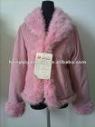 Ladies fashion rabbit fur collar and cuff peach skin coat